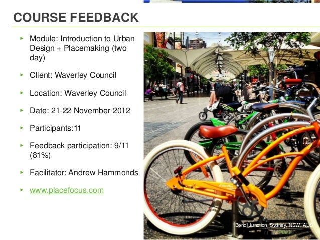 COURSE FEEDBACK▸ Module: Introduction to Urban  Design + Placemaking (two  day)▸ Client: Waverley Council▸ Location: Waver...