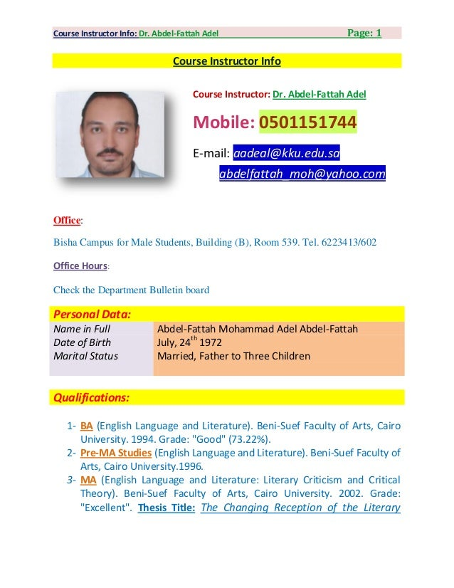 Course Instructor Info: Dr. Abdel-Fattah Adel                           Page: 1                                Course Inst...