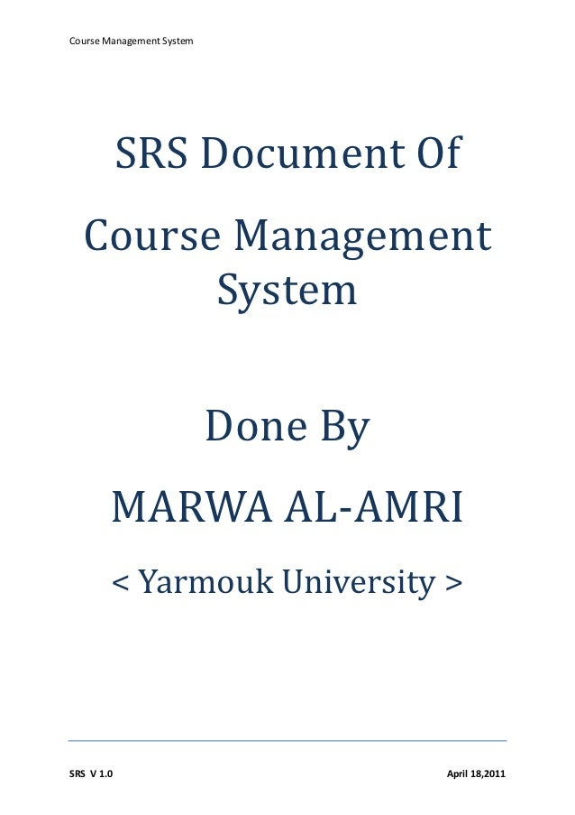 Srs Document Of Course Management Software System Doc