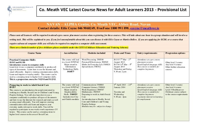 Co. Meath VEC Latest Course News for Adult Learners 2013 - Provisional List                                           NAVA...