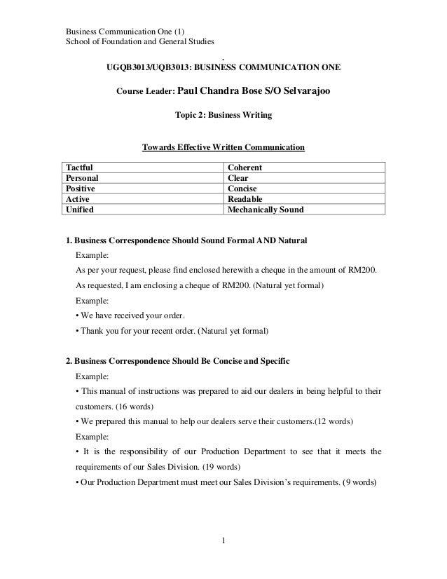 Business communication course activities