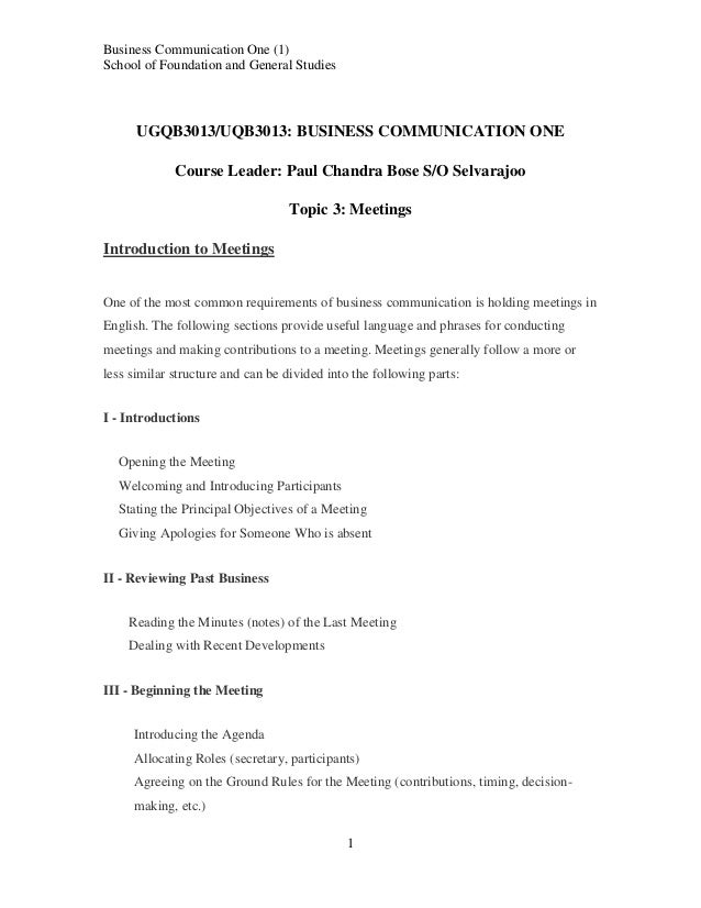 Business Communication One (1) School of Foundation and General Studies  UGQB3013/UQB3013: BUSINESS COMMUNICATION ONE Cour...