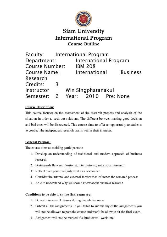 Siam University International Program Course Outline Faculty: International Program Department: International Program Cour...