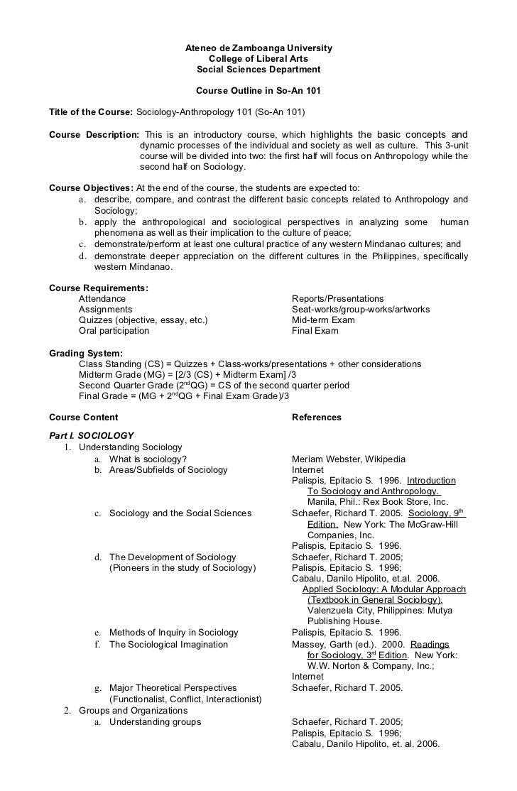 Course outline so an 101-for 1st sem 2011