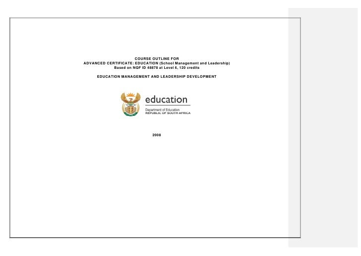 Course Outline for Advanced Certificate: Education School Management And Leadership (PDF)