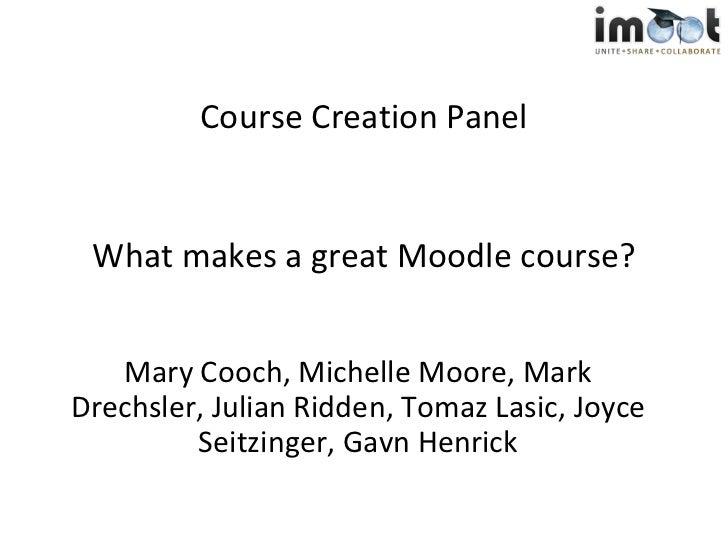 imoot Course Creator Challenge Panel