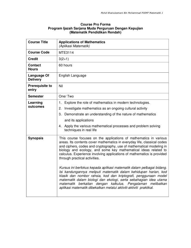 Mohd Khairulzamani Bin Mohammad PISMP Matematik 1                                      Course Pro Forma                Pro...
