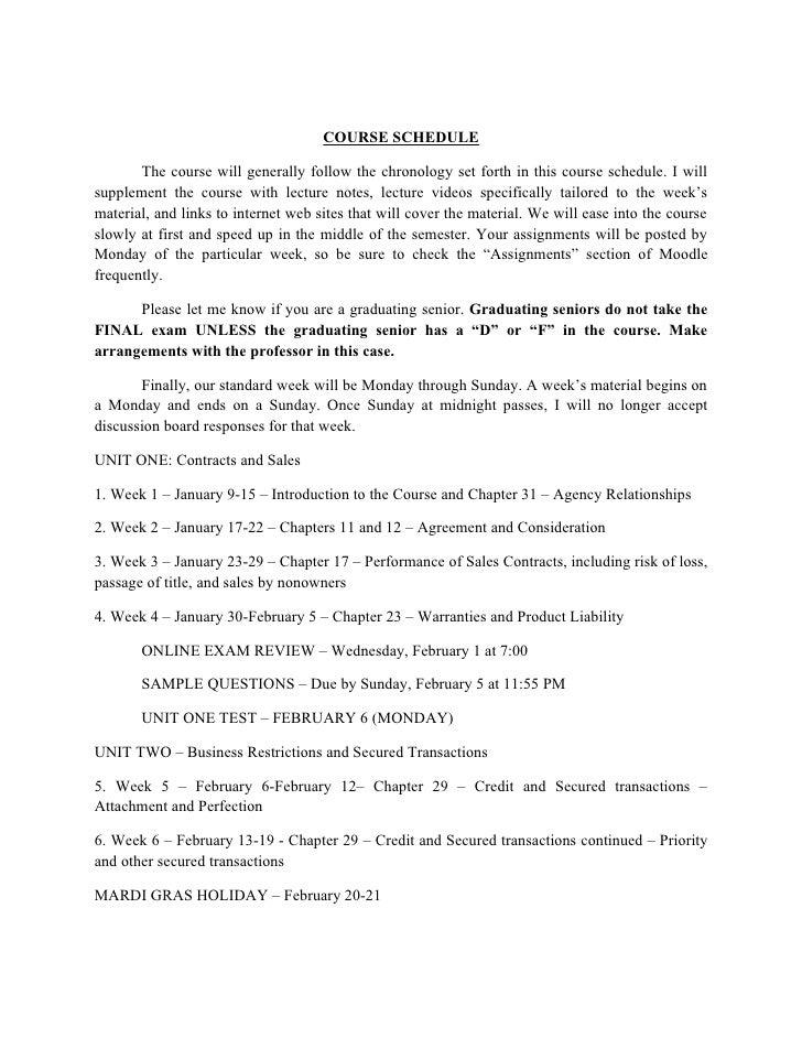 BUAD 3260 - Course Schedule