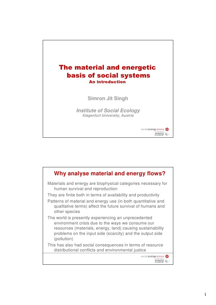 The material and energetic        basis of social systems                      An introduction                        Simr...