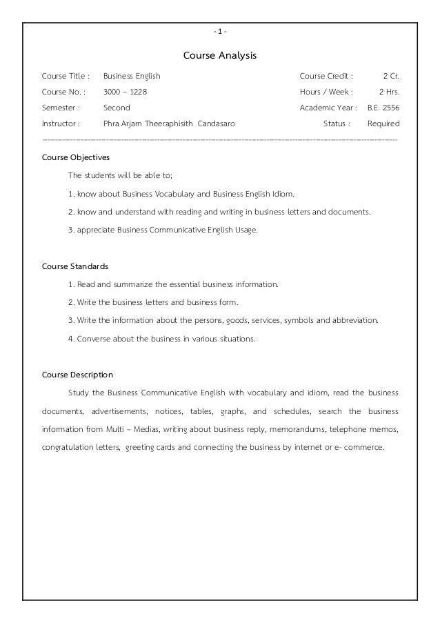 Business English Syllabus (3000-1228, H-Vacation Cert.)