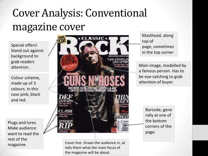 Cover Analysis: Conventional magazine cover Masthead, along top of page, sometimes in the top corner Special offers! Stand...