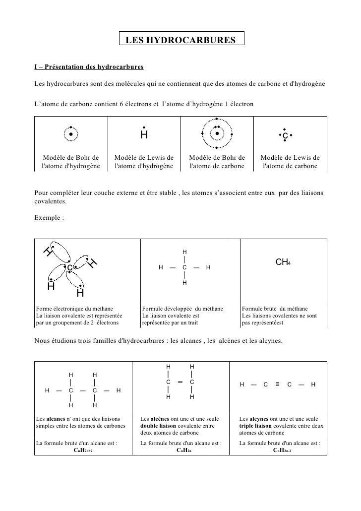 LES HYDROCARBURES  I – Présentation des hydrocarbures  Les hydrocarbures sont des molécules qui ne contiennent que des ato...