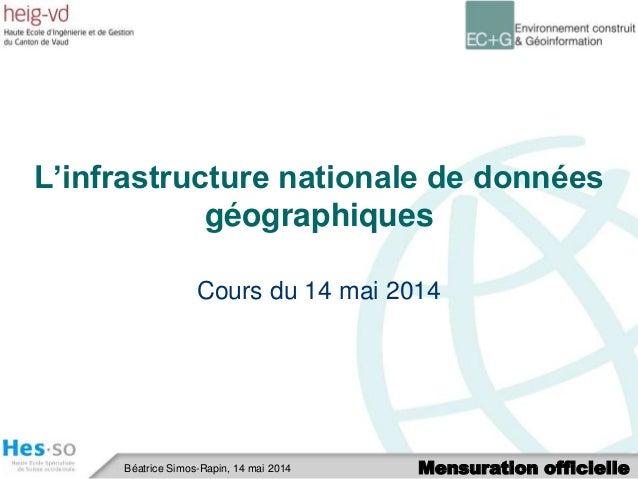 Mensuration officielleBéatrice Simos-Rapin, 14 mai 2014 L'infrastructure nationale de données géographiques Cours du 14 ma...