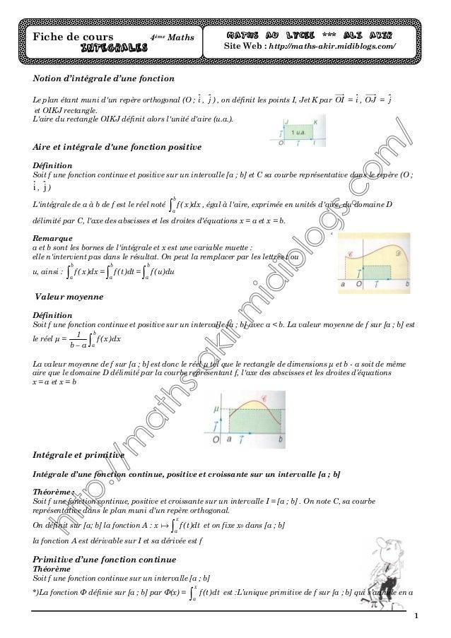 1 Notion d'intégrale d'une fonction Le plan étant muni d'un repère orthogonal (O ; i , j ) , on définit les points I, Jet ...
