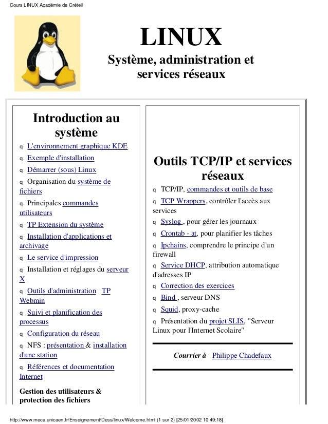 Cours LINUX Académie de Créteil                                                         LINUX                             ...