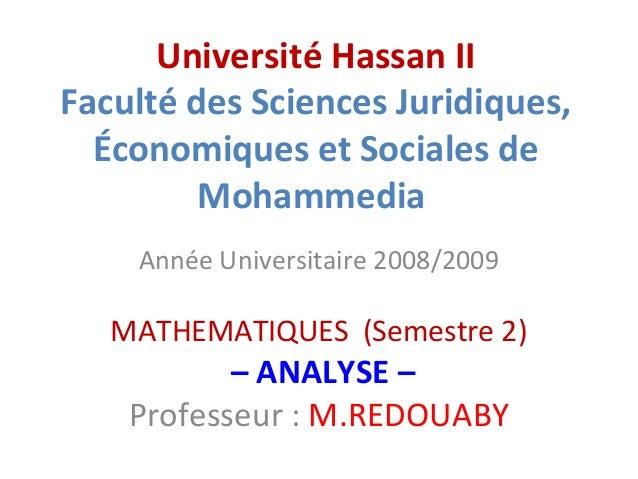 Université Hassan II Faculté des Sciences Juridiques, Économiques et Sociales de Mohammedia Année Universitaire 2008/2009 ...