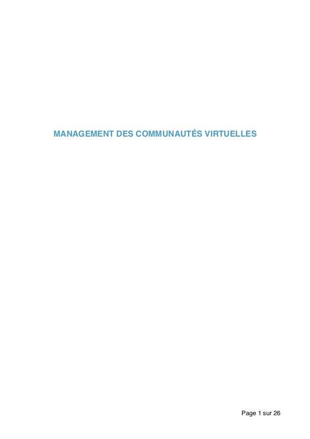 MANAGEMENT DES COMMUNAUTÉS VIRTUELLES Page sur1 26