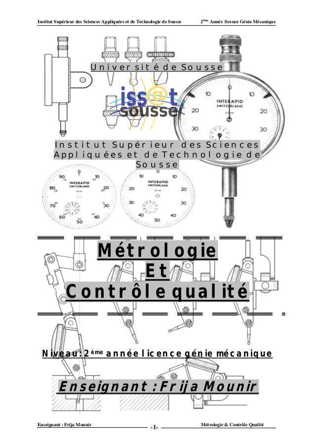 Institut Supérieur des Sciences Appliquées et de Technologie de Sousse   2ème Année licence Génie Mécanique               ...