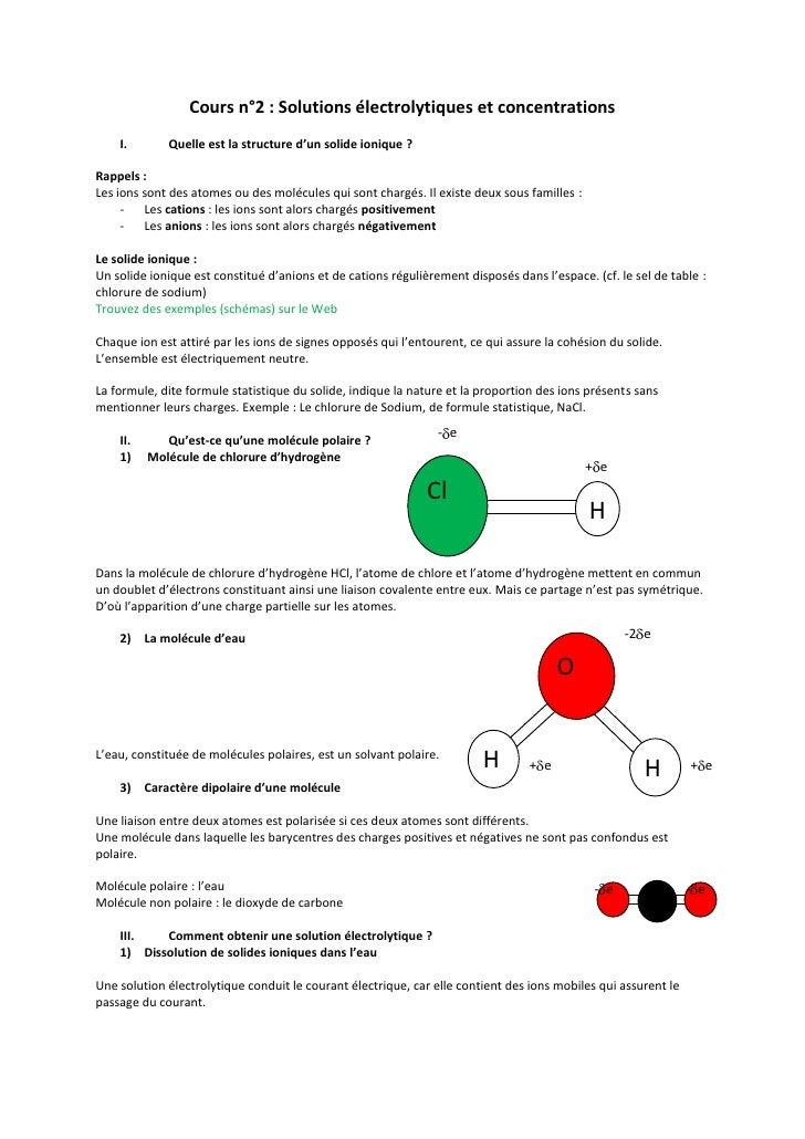 Cours n°2: Solutions électrolytiques et concentrations<br />Quelle est la structure d'un solide ionique?<br />Rappels:<...