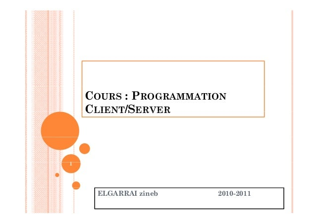 COURS : PROGRAMMATION CLIENT/SERVERCLIENT/SERVER 11 ELGARRAI zineb 2010-2011
