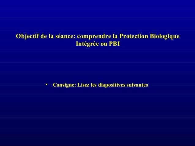Objectif de la séance: comprendre la Protection Biologique Intégrée ou PBI • Consigne: Lisez les diapositives suivantes
