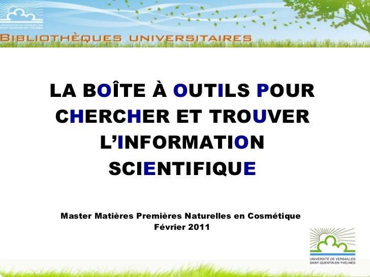 Cours recherche documentaire Master Matières Premières Naturelles en Cosmétique