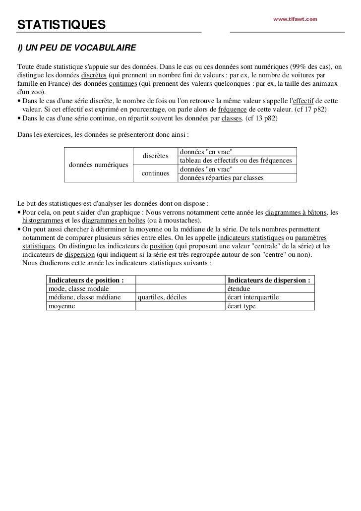 www.tifawt.comSTATISTIQUESI) UN PEU DE VOCABULAIREToute étude statistique sappuie sur des données. Dans le cas ou ces donn...