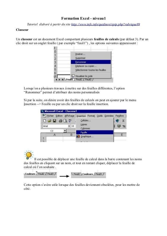 Formation Excel - niveau1 Tutoriel élaboré à partir du site http://www.infx.info/quidnovi/spip.php?rubrique89 Classeur Un ...