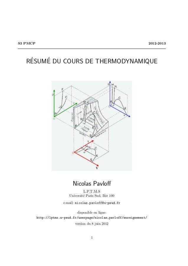S3 PMCP                                                                   2012-2013    ´   ´   RESUME DU COURS DE THERMODY...