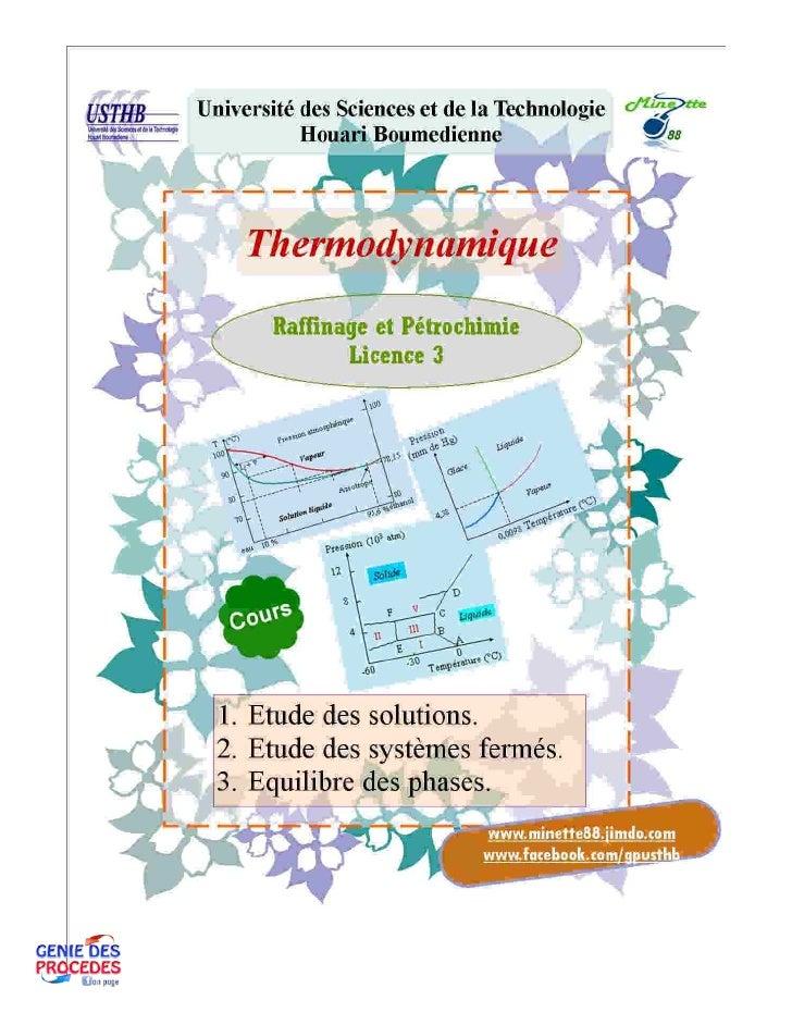 Cours thermodynamique
