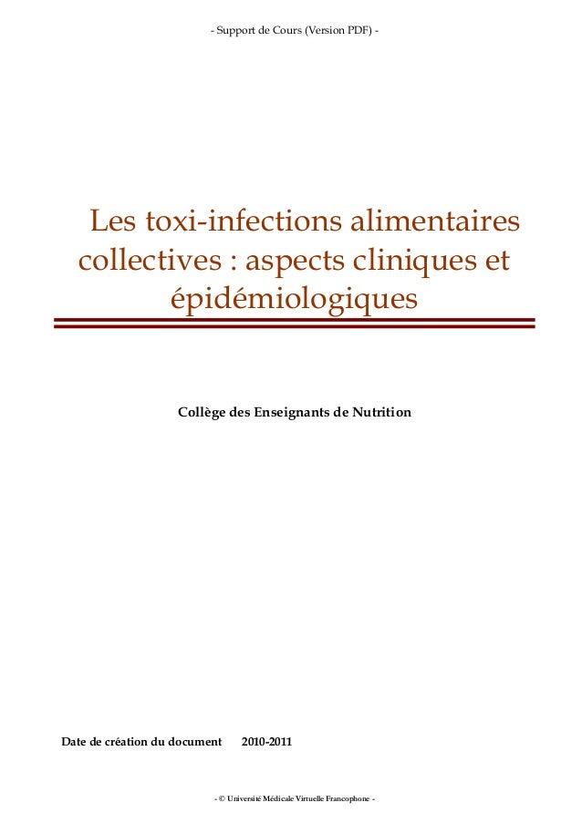- Support de Cours (Version PDF) - - © Université Médicale Virtuelle Francophone - Les toxi-infections alimentaires collec...