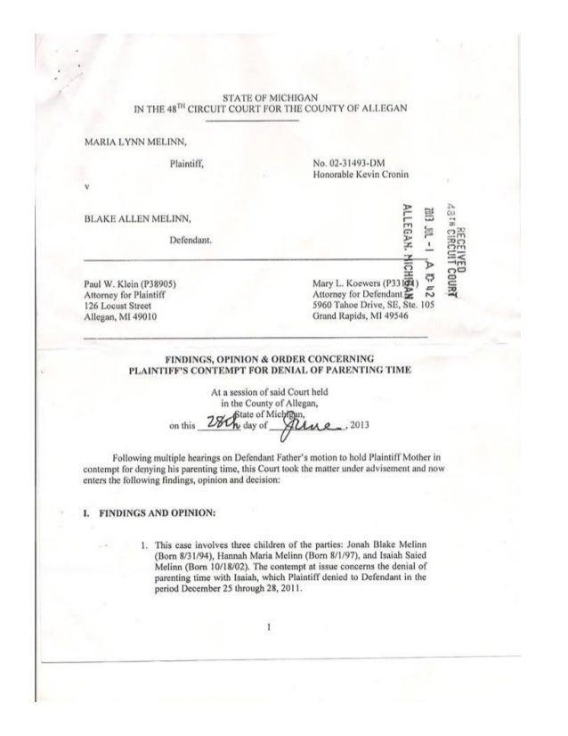 Court decision sending maria to jail