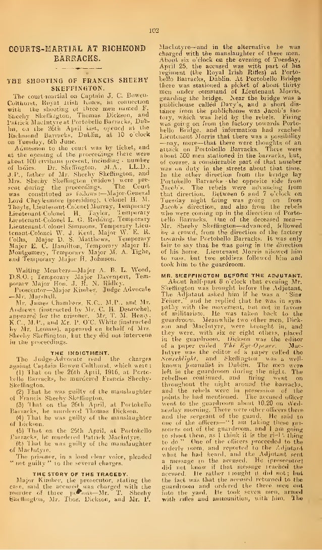102 COURTS-MARTIAL AT RICHMOND BARRACKS. THE SHOOTING OF FRANCIS SHEEHY SKEFFINGTON. The court-martial on Captain J. C. Bo...