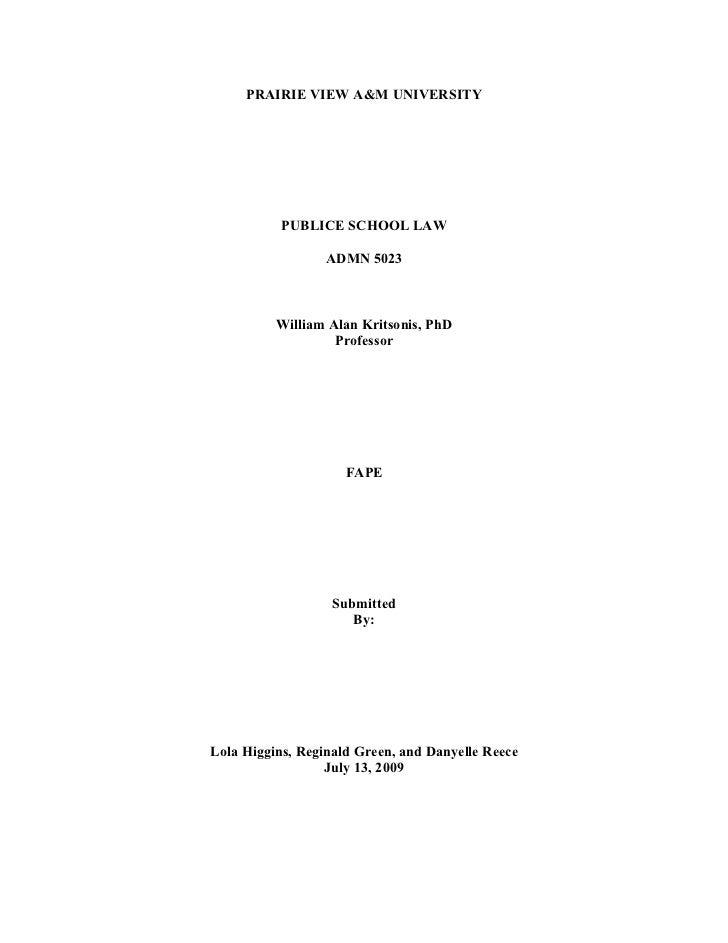PRAIRIE VIEW A&M UNIVERSITY                PUBLICE SCHOOL LAW                    ADMN 5023              William Alan Krits...