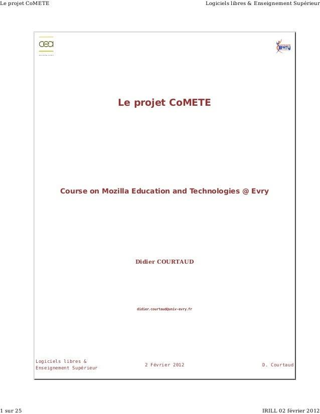 Le projet CoMETE                                                                                            Logiciels libr...