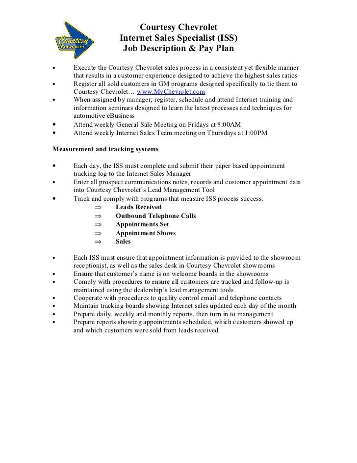 auto sales job description
