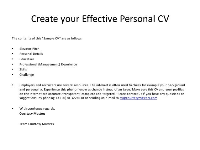 Effective Resume Profile Resume Writing Effective Cv Samples