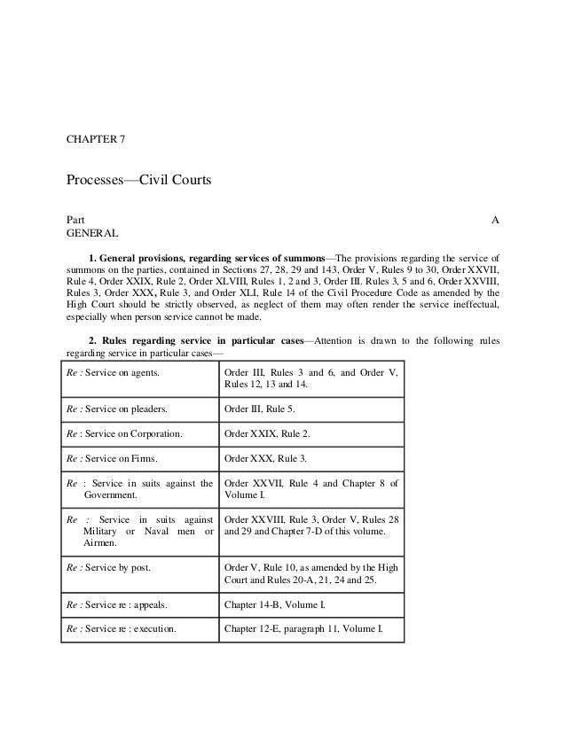 CHAPTER 7 Ch. 7 Processes—Civil Courts Part A] Part A GENERAL 1. General provisions, regarding services of summons—The pro...