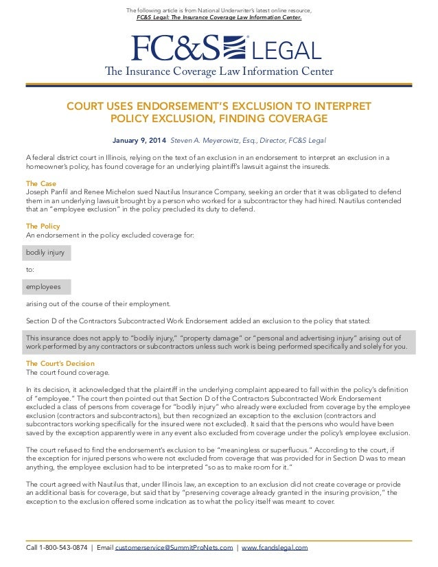 Court Uses Endorsement¹s Exclusion to Interpret Policy Exclusion, Finding Coverage