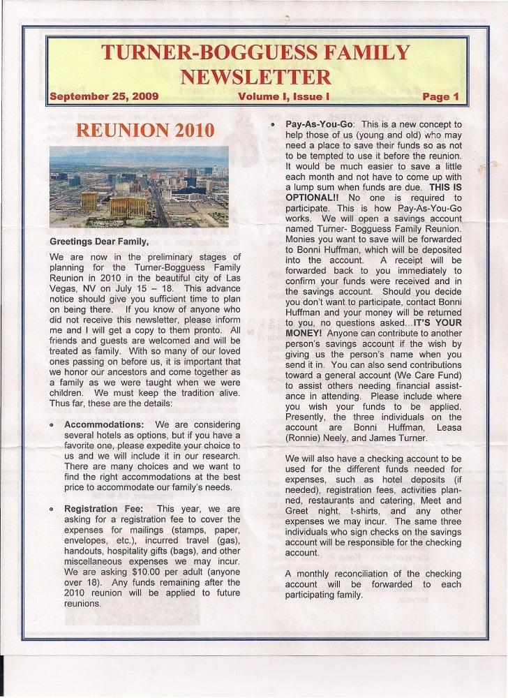 TURNER-BOGGUESS FAMILY                     NEWSLETTER September 25, 2009                                Volume I, Issue I ...