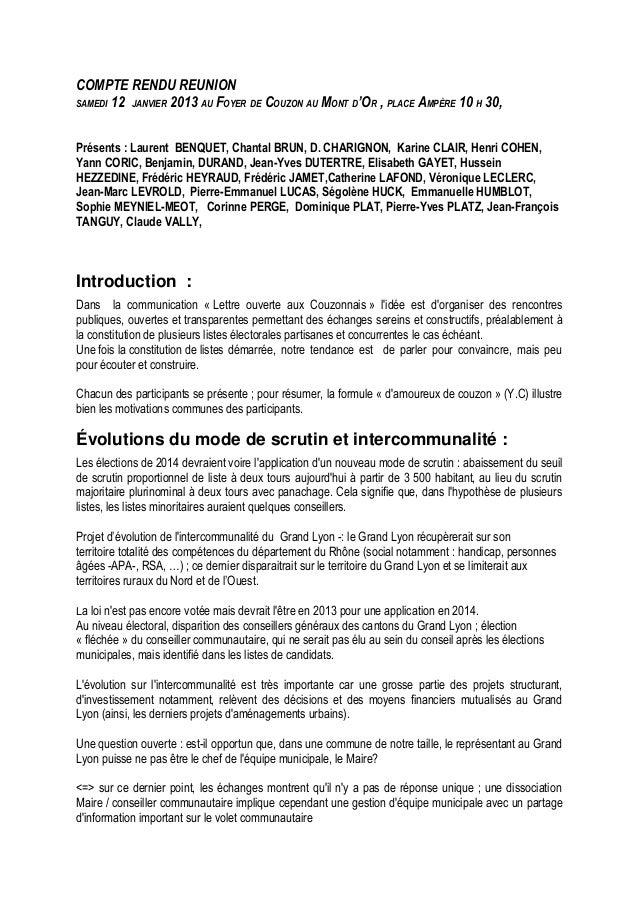 COMPTE RENDU REUNION SAMEDI 12 JANVIER 2013 AU FOYER DE COUZON AU MONT D'OR , PLACE AMPÈRE 10 H 30, Présents : Laurent BEN...