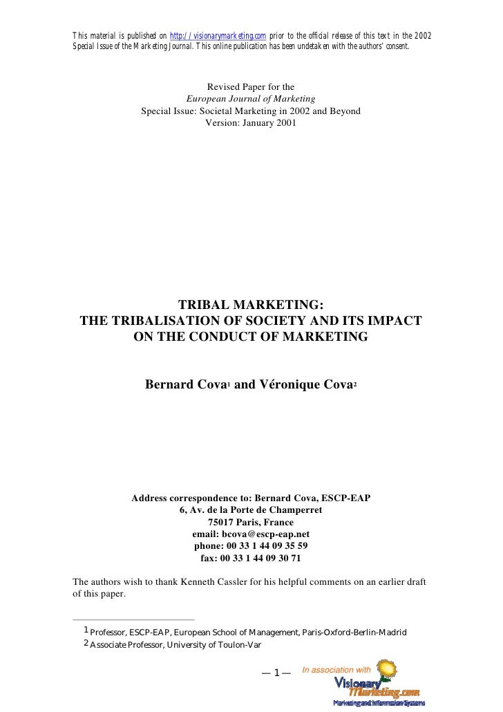 [En] THE TRIBALISATION OF SOCIETY AND ITS IMPACT ON THE CONDUCT OF MARKETING