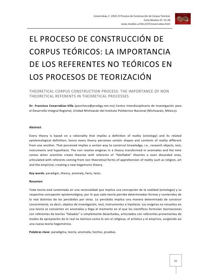 Covarrubias. el proceso de construcción de corpus teoricos