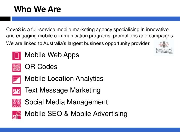 Who We AreCove3 is a full-service mobile marketing agency specialising in innovativeand engaging mobile communication prog...