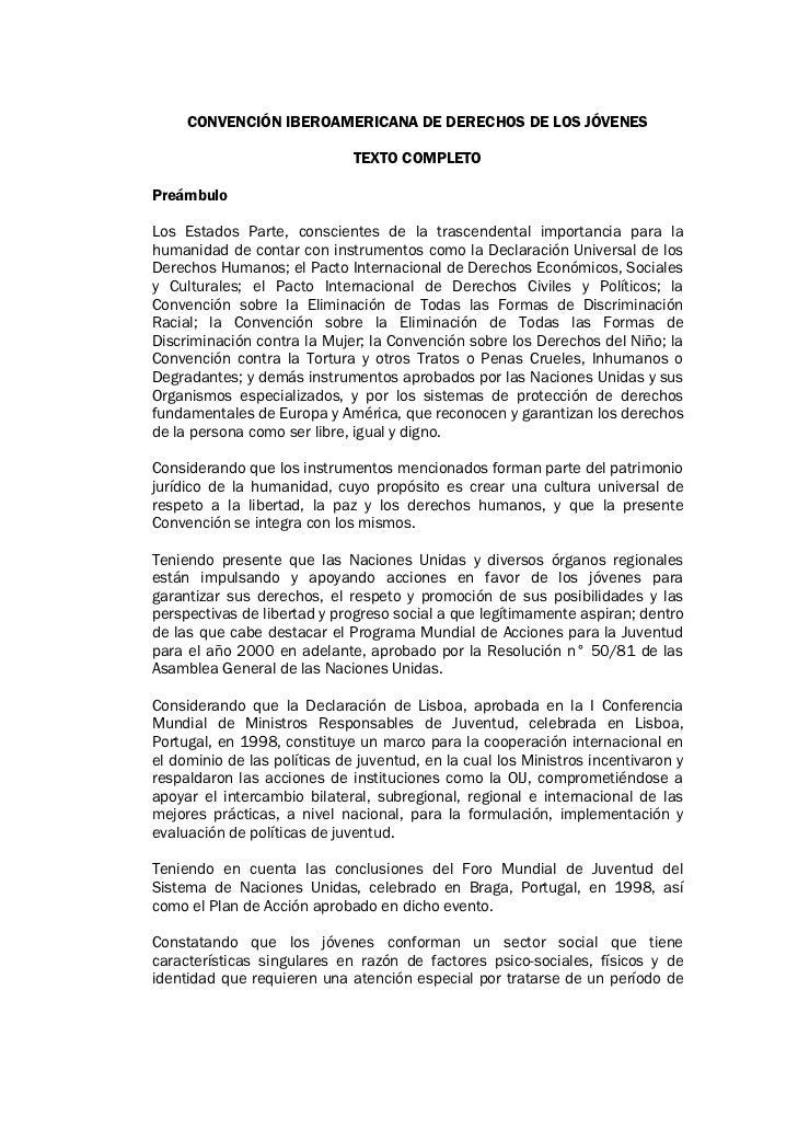 CONVENCIÓN IBEROAMERICANA DE DERECHOS DE LOS JÓVENES                              TEXTO COMPLETOPreámbuloLos Estados Parte...