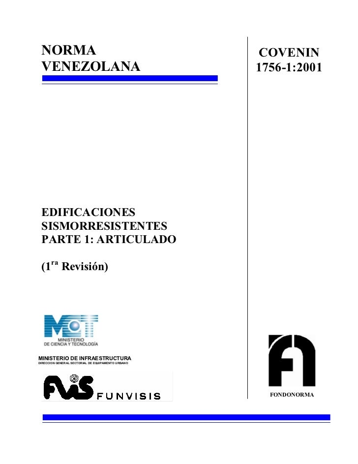NORMA                                              COVENIN VENEZOLANA                                         1756-1:2001 ...