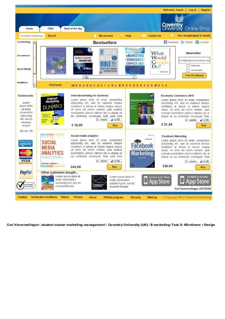 New website Coventry University E-marketing webshop  (Task E-MK)