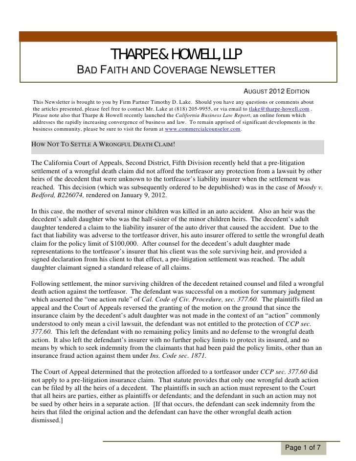 THARPE & HOWELL, LLP                  BAD FAITH AND COVERAGE NEWSLETTER                                                   ...