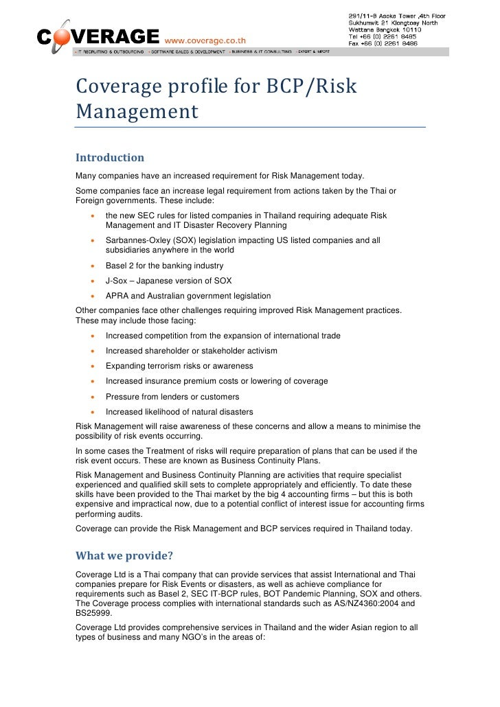 Coverage profile for BCP/Risk Management Introduction Many companies have an increased requirement for Risk Management tod...