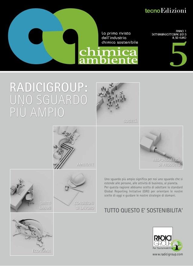 tecnoEdizioni  La prima rivista dell'industria chimica sostenibile  chimica ambiente  5  Anno 1 settembre/ottobre 2013 8,5...